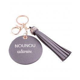 Porte-clés Nounou adorée gris métal rond et pompon