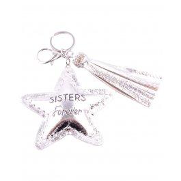 Porte-clés Sisters Forever étoile et pompon-Argent