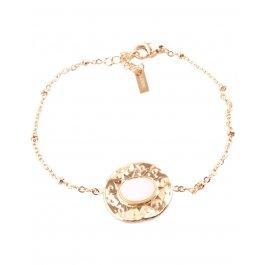 Bracelet acier rond doré avec pierre ovale -Blanc