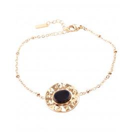 Bracelet acier rond doré avec pierre ovale -Noir
