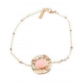 Bracelet acier rond doré avec pierre ovale -Rose