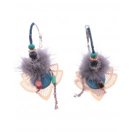 Boucles d'oreilles LOL Anneaux pompon arabesque filigrane dorée-Bleu