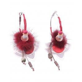 Boucles d'oreilles LOL Anneaux pompon arabesque filigrane dorée-Rouge