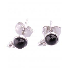 Boucles d'oreilles Acier Grappe perle noire Lolilota-Argent