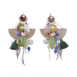 Boucles d'oreilles LOL Grand Pendule à feuilles et plumes-Kaki