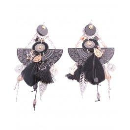 Boucles d'oreilles LOL Grand Pendule à feuilles et plumes-Noir