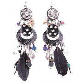 Boucles d'oreilles Medipois plumes et perles LOL-Noir