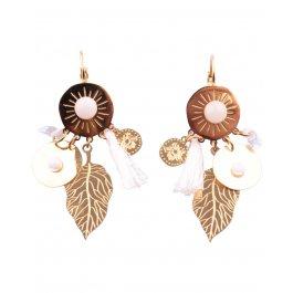 Boucles d'oreilles dorées LOL acier Automnia-Blanc