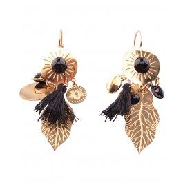 Boucles d'oreilles dorées LOL acier Automnia-Noir