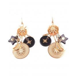 Boucles d'oreilles acier doré Lunitoili-Noir