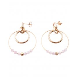 Boucles d'oreilles acier doré Double anneau perlé-Blanc