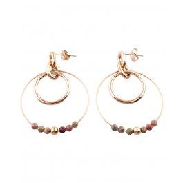Boucles d'oreilles acier doré Double anneau perlé-Kaki