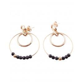 Boucles d'oreilles acier doré Double anneau perlé-Noir