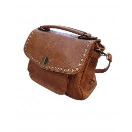 Grand sac à bandoulière en simili souple clouté effet craquelé-Camel