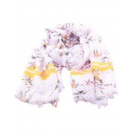 Echarpe fleurs de printemps et rayures-Blanc
