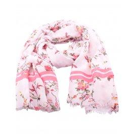 Echarpe fleurs de printemps et rayures-Rose