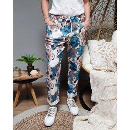 Pantalon fluide grosses fleurs -Bleu