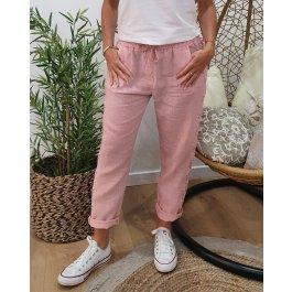 Pantalon lin bandes latérales en broderie-Rose