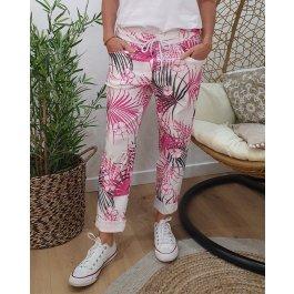Pantalon fluide blanc feuillage -Rose
