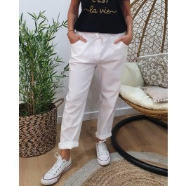 Pantalon fluide uni-Blanc