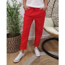 Pantalon fluide uni-Rouge