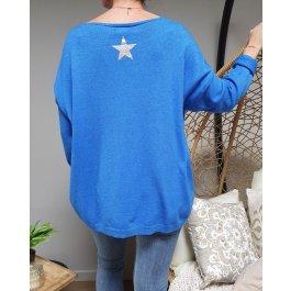 Pull fluide étoile dos-Bleu