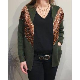 Gilet bandes sequins leopard et strass-Kaki