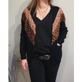Gilet bandes sequins leopard et strass-Noir