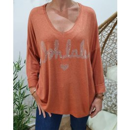 Pull oversize Oohlala strass-Brique