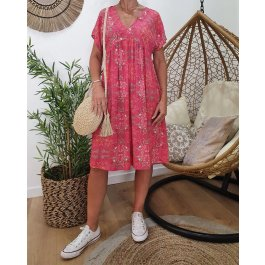 Robe fluide oversize manches courtes-Rose