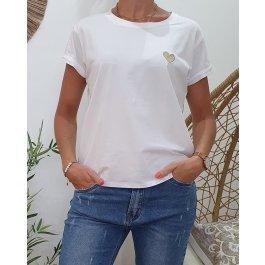 T-Shirt coeur taille unique-Blanc