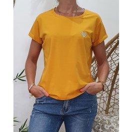 T-Shirt coeur taille unique-Jaune