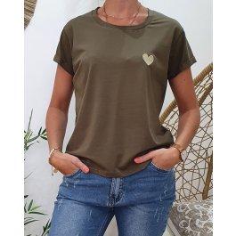 T-Shirt coeur taille unique-Kaki