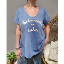 T-Shirt oversize Mademoiselle en baskets-Bleu