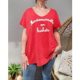 T-Shirt oversize Mademoiselle en baskets-Rouge