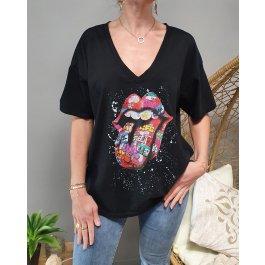 T-Shirt oversize mouth multicolore-Noir