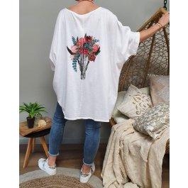 T-shirt oversize crâne de buffle fleuri-Blanc