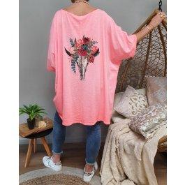 T-shirt oversize crâne de buffle fleuri-Corail