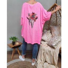 T-shirt oversize crâne de buffle fleuri-Rose