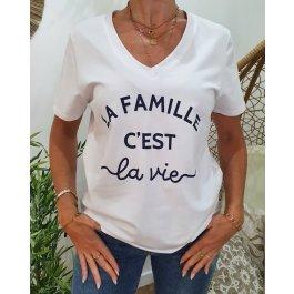 T-Shirt La Famille c'est la vie col V-Bleu