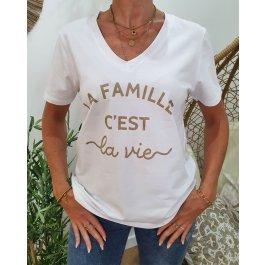 T-Shirt La Famille c'est la vie col V-Or