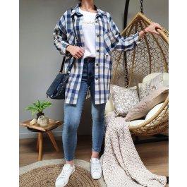 Chemise longue à carreaux -Bleu