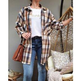 Chemise longue à carreaux -Beige