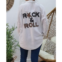 Chemise fluide dos Rock & Roll-Blanc