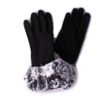 Gants noirs fourrure noire et grise femme