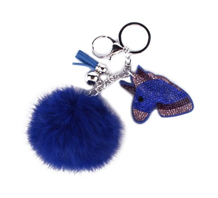 Porte-clés pompon bleu electrique licorne Emoji strass mauves roses