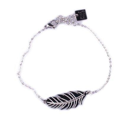 Bracelet MILE MILA acier argent plume fantaisie