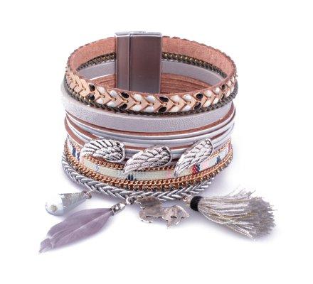 Bracelet manchette LOL gris doré triple ailes d'ange et pompon