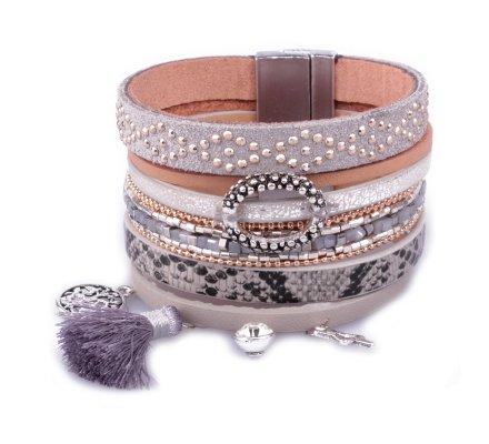 Bracelet manchette LOL gris étoile anneau pyhton et pompon