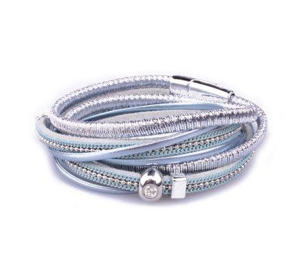Bracelet multirangs LOL bille strassée bleu argent